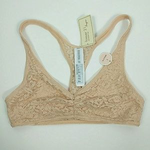 NWT Forever21 Nude Lace Racerback Bralette S
